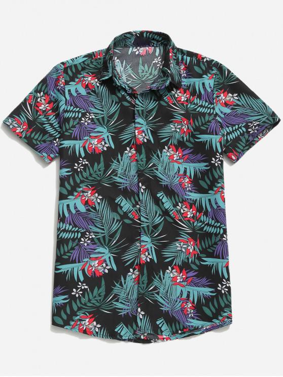 best Hawaii Tropical Plant Floral Print Beach Casual Shirt - MULTI-F M