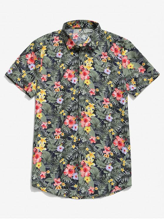 chic Short Sleeves Tropical Leaf Ditsy Print Hawaii Beach Shirt - MULTI-C M