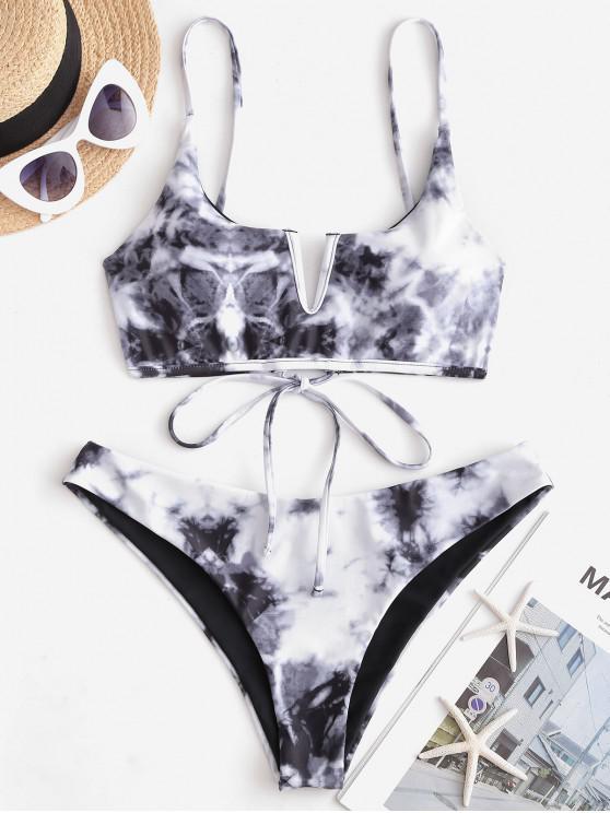 lady ZAFUL V-wired Lace-up Tie Dye Bikini Swimsuit - DARK GRAY S