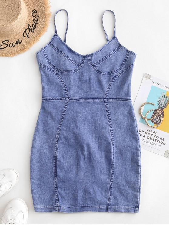 outfits Bodycon Denim Cami Dress - DENIM BLUE S
