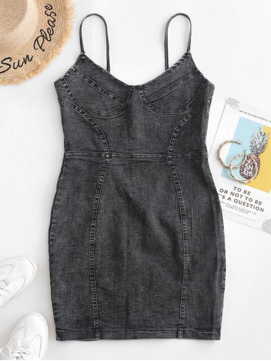 latest Bodycon Denim Cami Dress - GRAY S