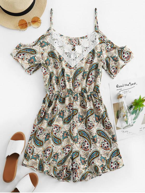 outfit Lace Panel Paisley Print Cold Shoulder Romper - MULTI-A S