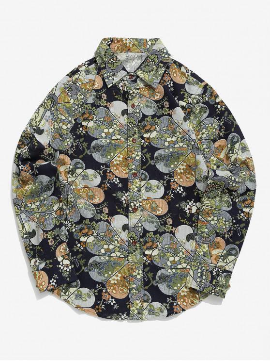 Camicia a maniche lunghe con stampa floreale tribale e bottoni - Multi Colori-C XL