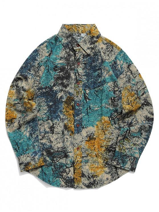 Camicia a maniche lunghe stampa tribale con pittura a inchiostro colorato - Blu Dodger  XS