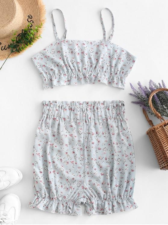 new Buttoned Tiny Floral Cami Two Pieces Suit - MULTI S