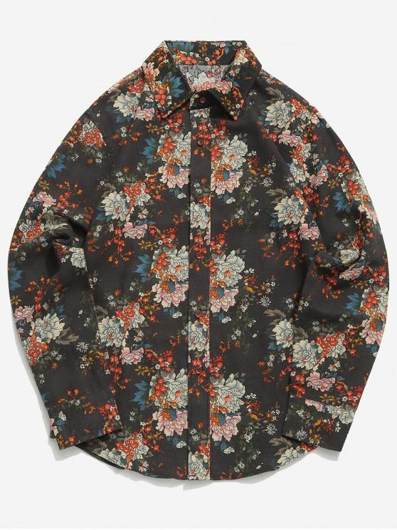 Camicia casual con bordo curvo e stampa floreale allover - Nero Come L'ebano L