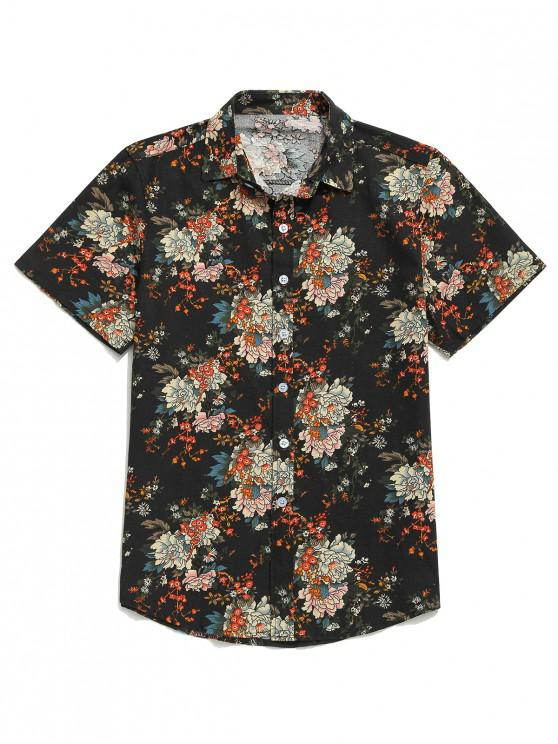trendy Flower Allover Print Short Sleeves Button Shirt - BLACK L