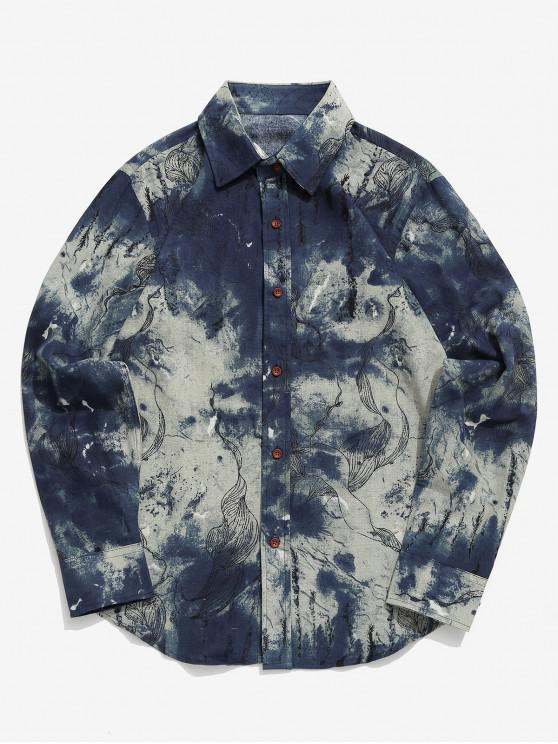 ladies Tribal Ink Painting Flower Print Button Shirt - BABY BLUE XS