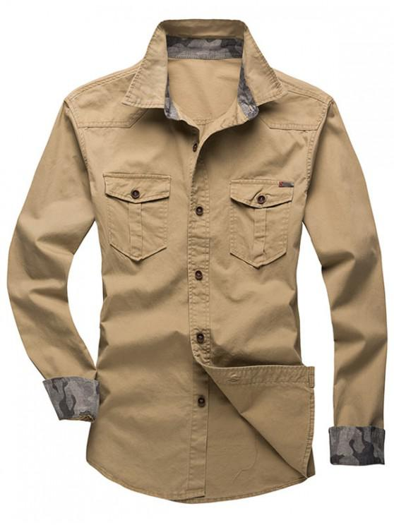 best Solid Color Chest Pocket Long Sleeves Button Shirt - GOLDENROD L