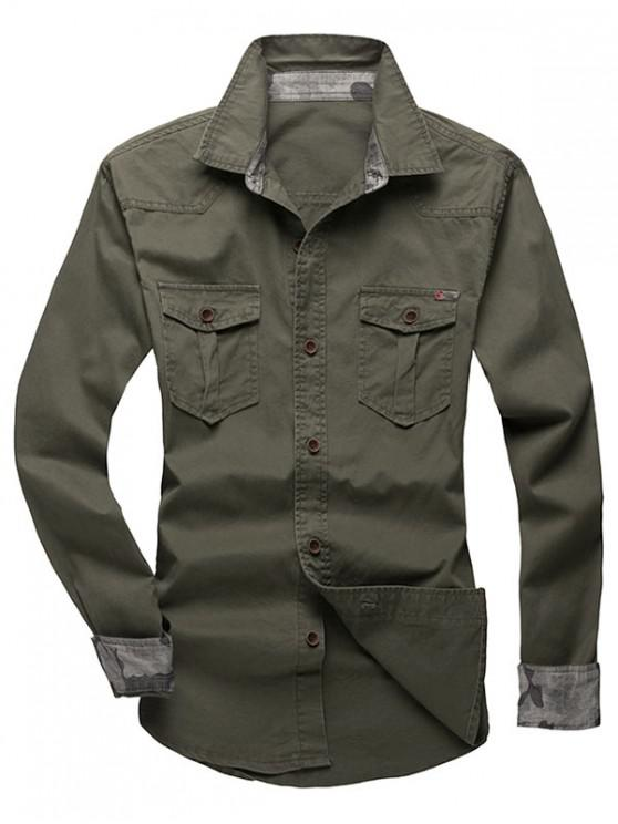 hot Solid Color Chest Pocket Long Sleeves Button Shirt - ARMY GREEN L