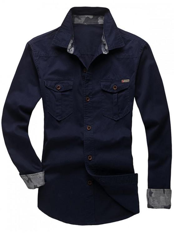 buy Solid Color Chest Pocket Long Sleeves Button Shirt - MIDNIGHT BLUE XS