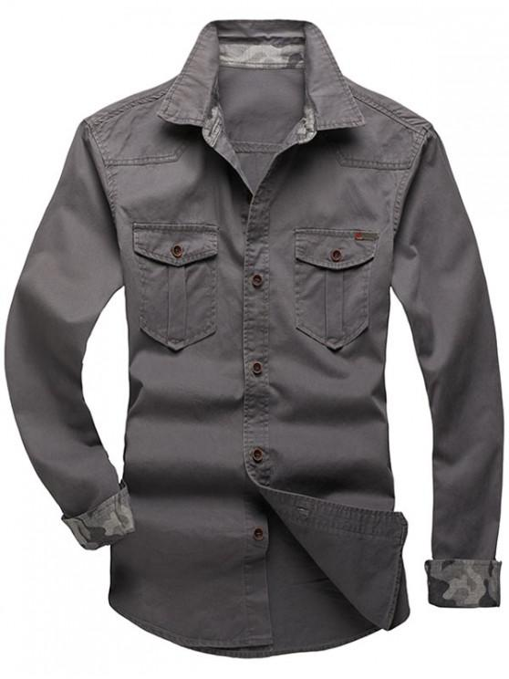 womens Solid Color Chest Pocket Long Sleeves Button Shirt - ASH GRAY L