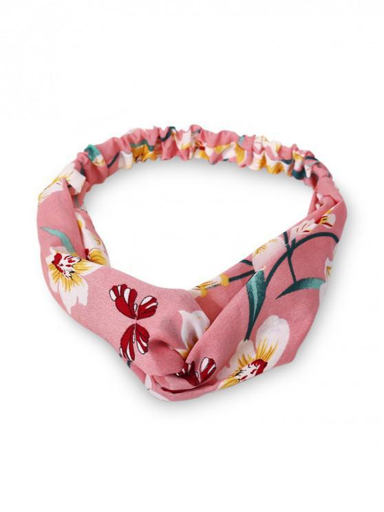 lady Ditsy Print Cross Elastic Headband - PINK
