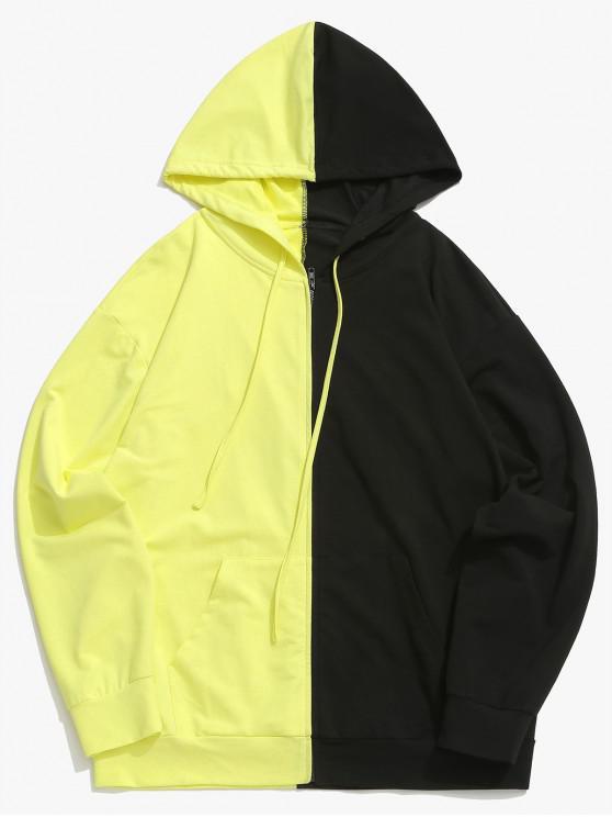 trendy ZAFUL Contrast Two Tone Pocket Zipper Up Jacket - GOLDENROD S