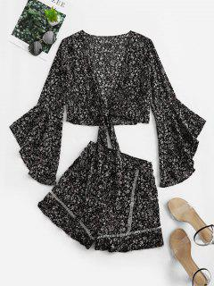 Flare Sleeve Knotted Floral Blouse And Flounce Shorts Set - Black S