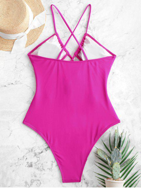 shop ZAFUL Cut Out Criss Cross One-piece Swimsuit - ROSE RED S Mobile