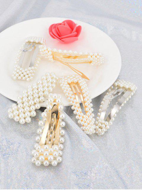 6pcs- Geometrische Künstliche Perle- Hairgrip -Set - Weiß  Mobile