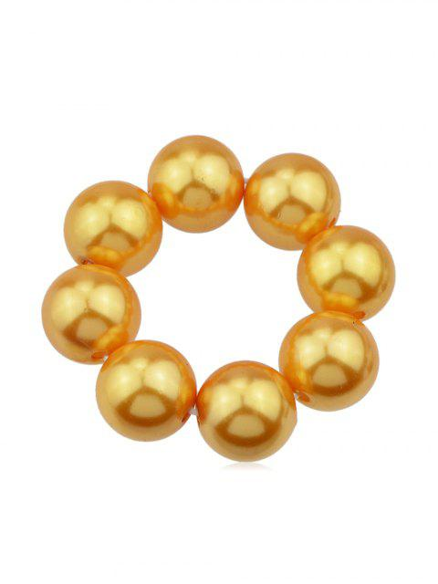 fashion Solid Color Faux Pearl Elastic Hair Band Scrunchies - GOLD  Mobile