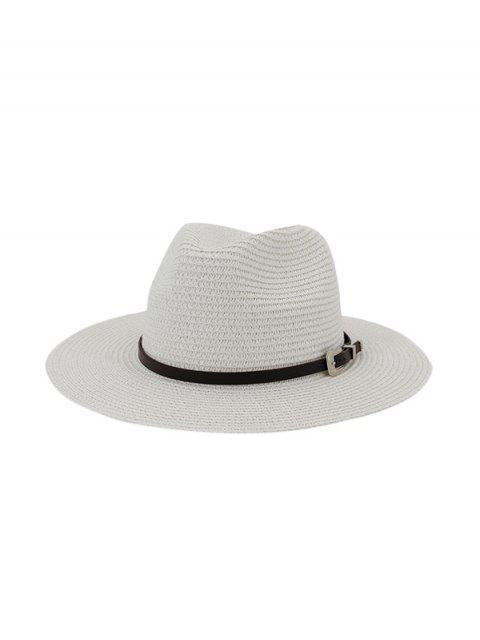 best Belt Embellished Straw Outdoor Jazz Beach Hat - WHITE  Mobile