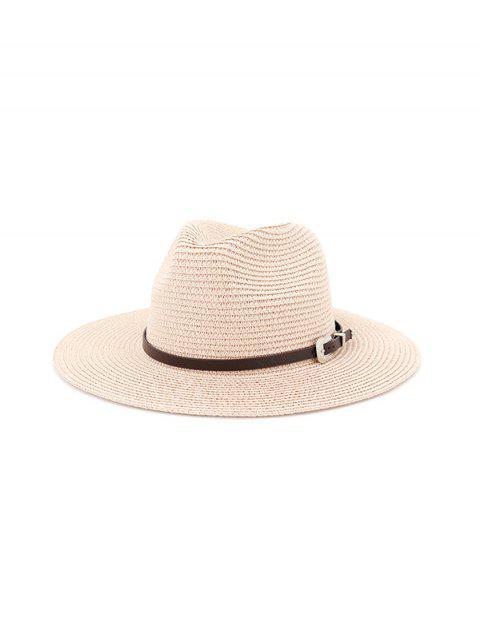 fancy Belt Embellished Straw Outdoor Jazz Beach Hat - LIGHT PINK  Mobile