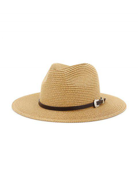 unique Belt Embellished Straw Outdoor Jazz Beach Hat - KHAKI  Mobile