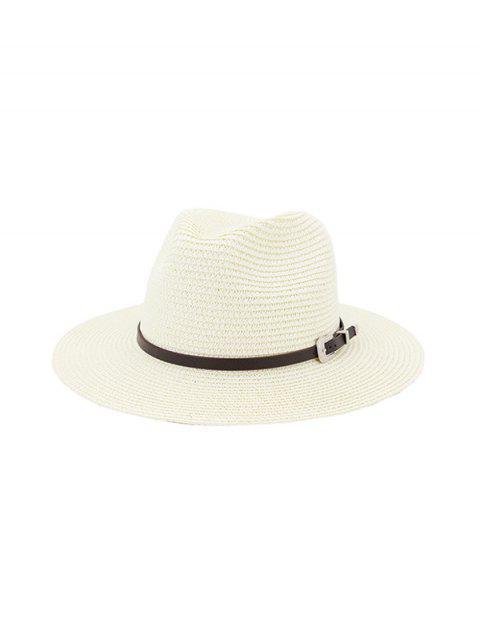 buy Belt Embellished Straw Outdoor Jazz Beach Hat - MILK WHITE  Mobile