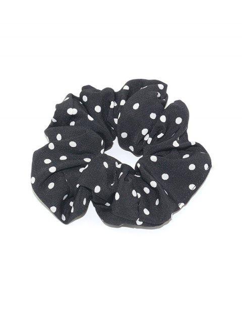womens Polka Dot Print Elastic Hair Band Scrunchies - BLACK  Mobile