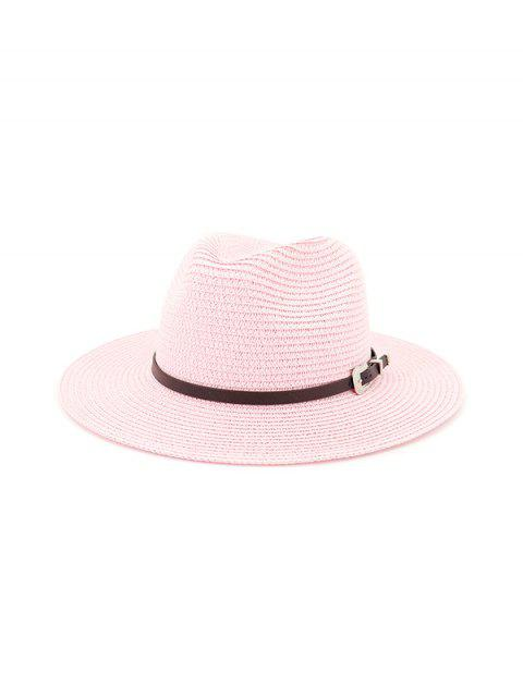 women Belt Embellished Straw Outdoor Jazz Beach Hat - HOT PINK  Mobile