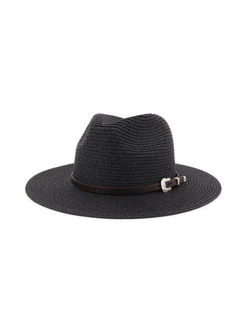 new Belt Embellished Straw Outdoor Jazz Beach Hat - BLACK  Mobile