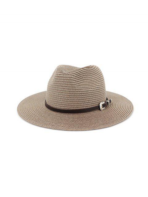 hot Belt Embellished Straw Outdoor Jazz Beach Hat - DARK GRAY  Mobile