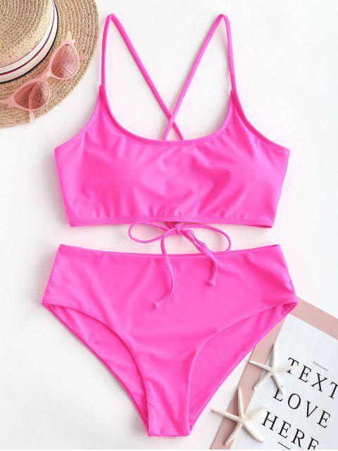 ZAFUL Maillot de Bain Bikini Rembourré à Taille Haute à Lacets - Rose Néon L Mobile