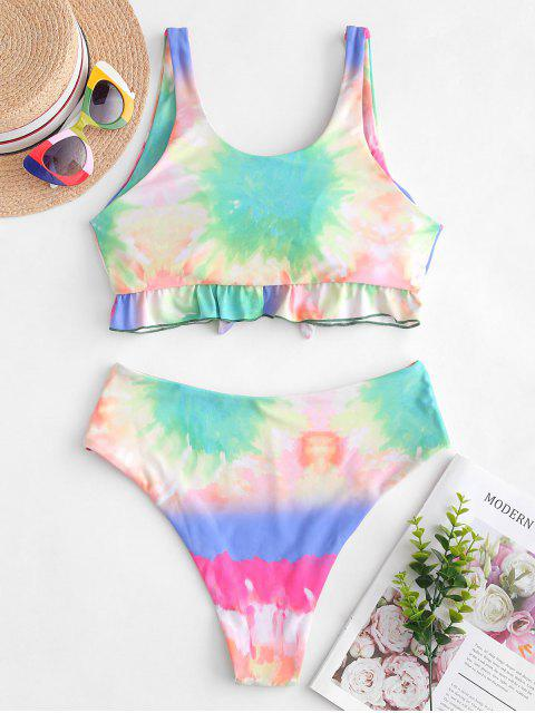 affordable ZAFUL Ruffle Knot Rainbow Tie Dye Tankini Swimsuit - MULTI-A S Mobile