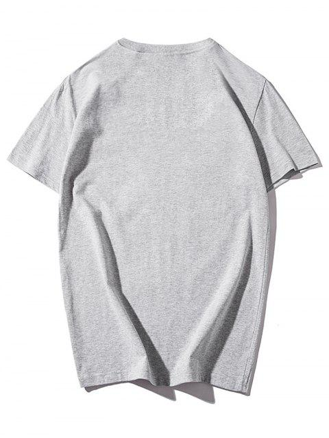 Impresión colorida de la pintura de la pluma camiseta con cuello redondo - Nube Gris L Mobile