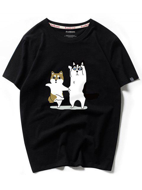ladies Dancing Husky Cartoon Print Casual T-shirt - BLACK S Mobile
