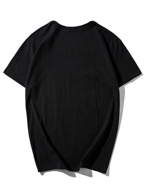 Camiseta casual con estampado de dibujos animados de Dancing Husky - Negro M Mobile