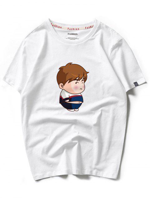 Camiseta de manga corta con estampado de niño de dibujos animados - Blanco L Mobile