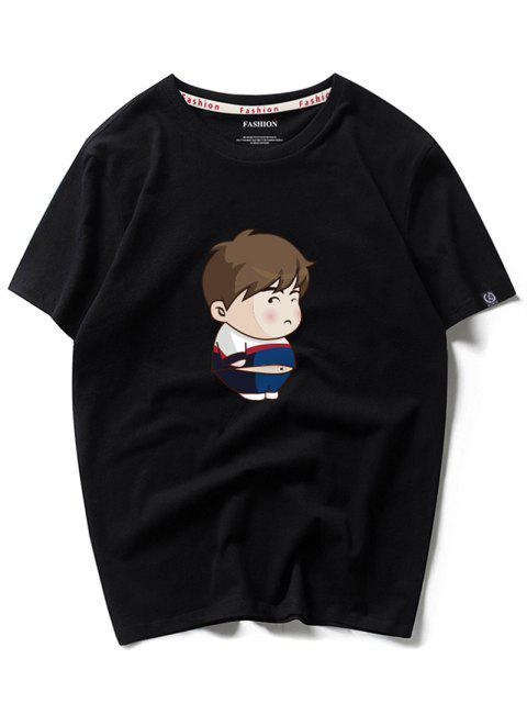 Camiseta de manga corta con estampado de niño de dibujos animados - Negro M Mobile