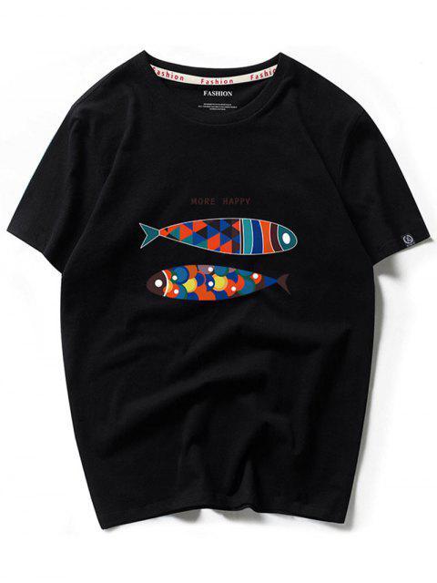 Más Happy Colorful Fish Graphic camiseta de manga corta - Negro 2XL Mobile
