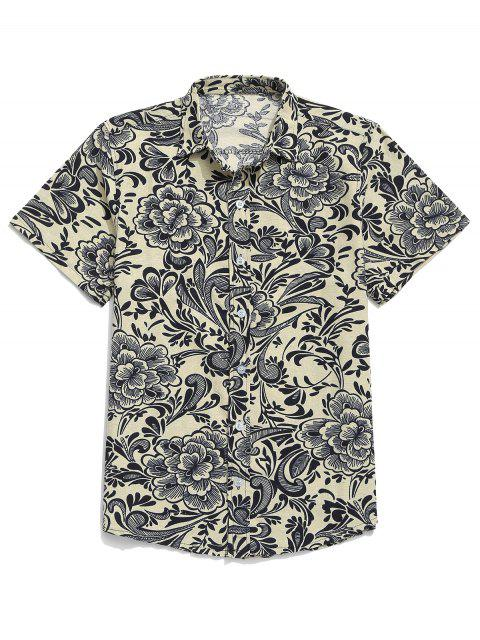 women's Chinese Allover Flower Painting Print Button Casual Shirt - BEIGE 2XL Mobile