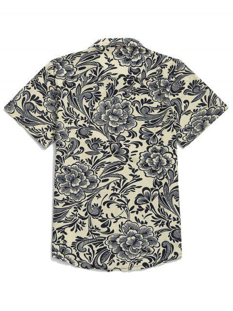 ladies Chinese Allover Flower Painting Print Button Casual Shirt - BEIGE 3XL Mobile