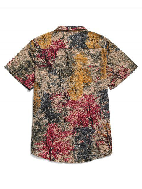 online Chinese Colorful Ink Painting Print Button Shirt - CHERRY RED L Mobile