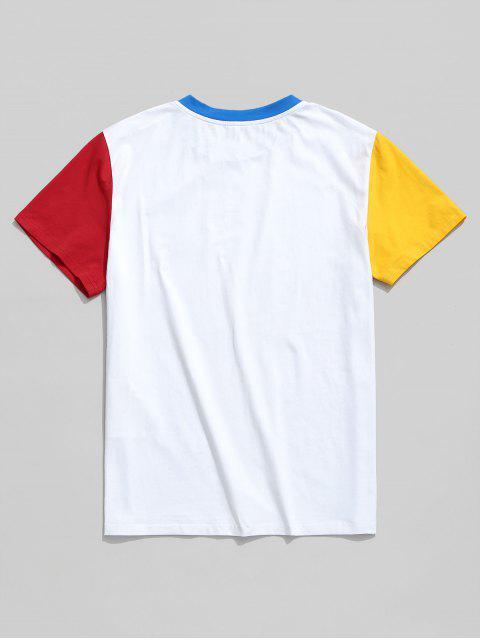 Camiseta básica de manga corta color block de ZAFUL - Blanco M Mobile