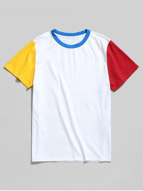 Camiseta básica de manga corta color block de ZAFUL - Blanco L Mobile