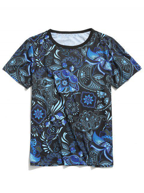 Camiseta de manga corta con estampado floral tribal de Paisley - Lapislázuli M Mobile