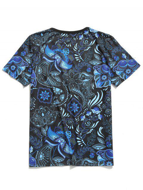 Camiseta de manga corta con estampado floral tribal de Paisley - Lapislázuli L Mobile