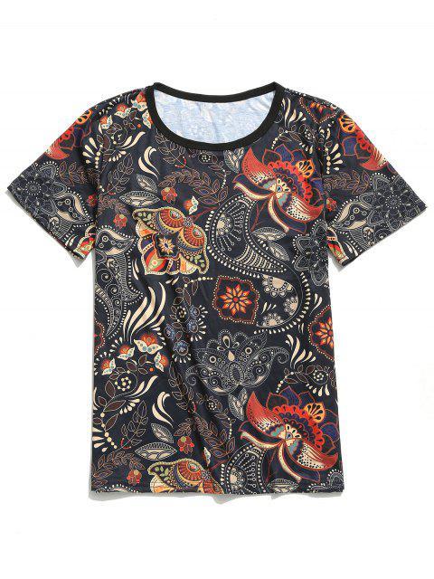 Camiseta de manga corta con estampado floral tribal de Paisley - Negro M Mobile