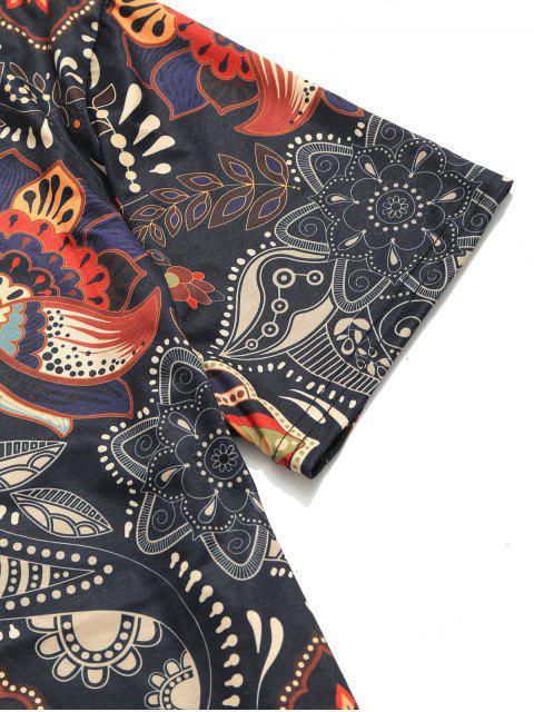 Camiseta de manga corta con estampado floral tribal de Paisley - Negro L Mobile