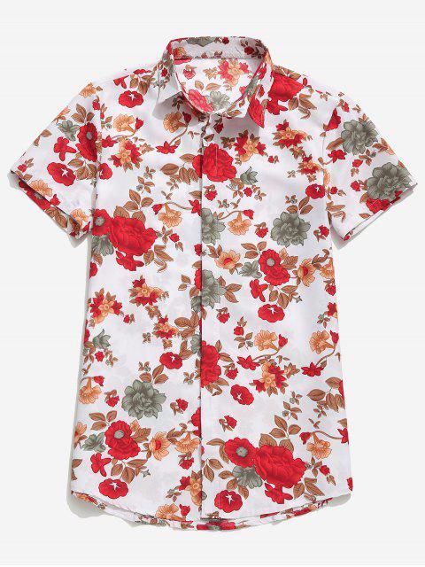 chic Flowers Plant Print Casual Hawaii Beach Shirt - WHITE 3XL Mobile