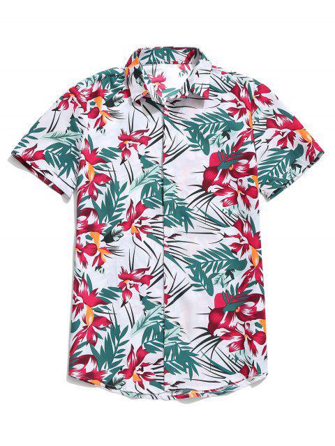 affordable Hawaii Flower Leaf Print Casual Beach Shirt - WHITE 2XL Mobile