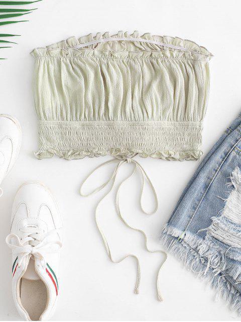 hot ZAFUL Lettuce Trim Smocked Lace Up Bandeau Top - GREEN S Mobile